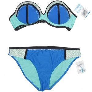 California Waves Two Piece Colorblock Swimsuit